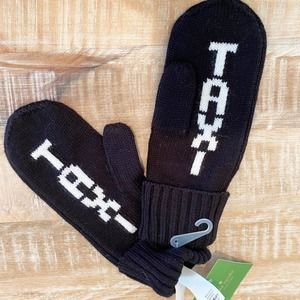 Kate spade black taxi mittens new